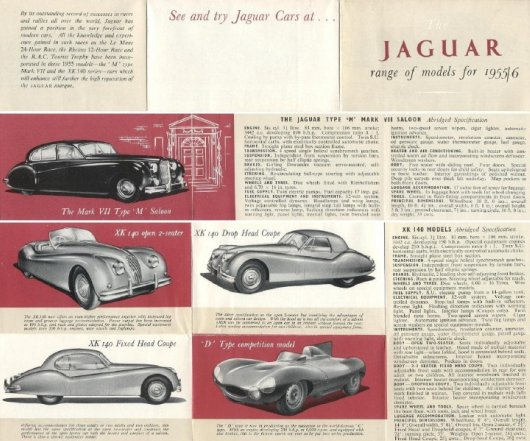 jaguar model range mini brochure 19551956 6 pages